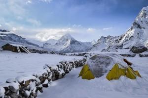 Bild geodaetzelt im schnee